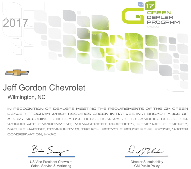 Jeff Gordon Chevrolet GM Green Dealer Program Certificate 2017 GDP.png