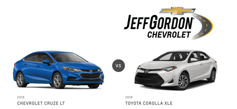 Chevy Cruze VS Toyota Corolla XLE Jeff Gordon Chevy@2x
